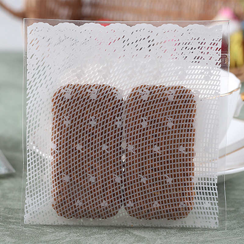 Party White Lace Print Cookie Bags Self Adhesive Biscuit Candy Packaging Bag HZ