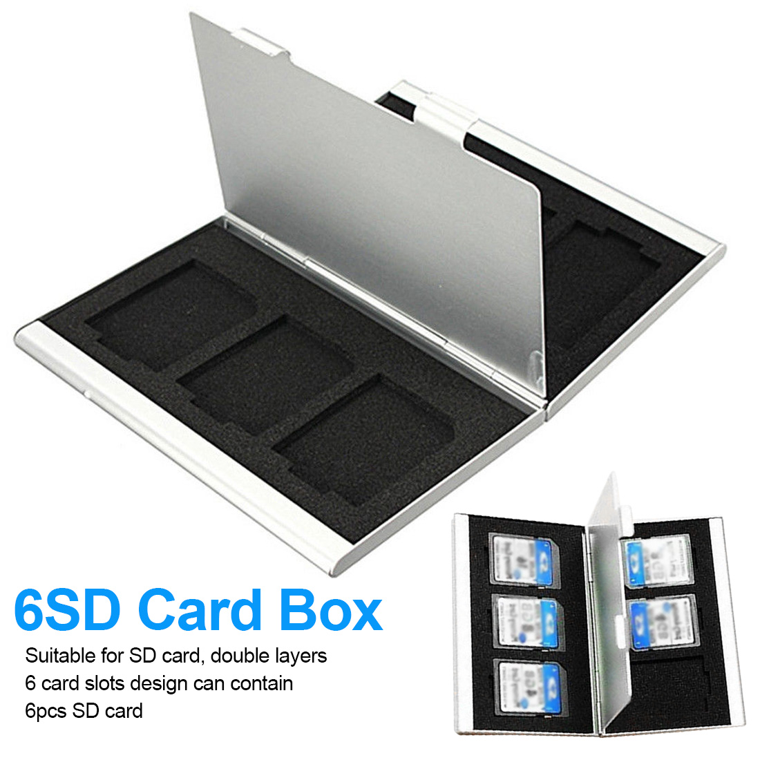 6 Slots Dougle-desk Aluminum Storage Box For SD SDHC SDXC MMC Memory Card Case Holder Protector