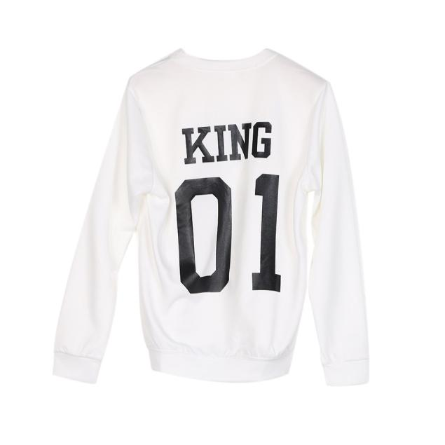 0d5b4fc1bea New Arrival Hot Men KING 01 Letter Print Shirt Top Blouse Couple Long  Sleeve Shirt Free Shipping Wholesale