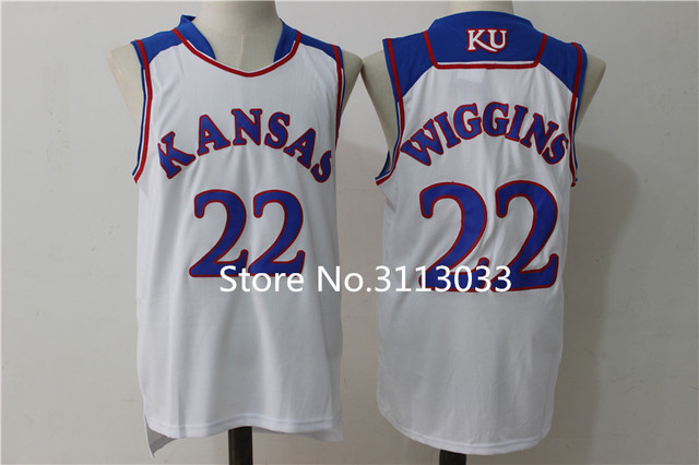 ce7c6c42cae ... 22 Andrew Wiggins Kansas Jayhawks KU College Basketball Jersey Blue  white Embroidery Stitched Custom any ...