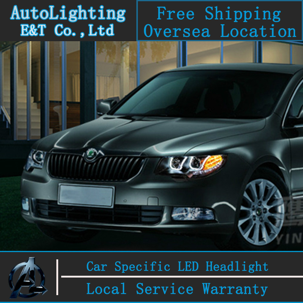Car Styling For Skoda Superb headlight assembly 2009-2014 Superb led headlight Superb drl Automobile H7 with hid kit 2pcs.