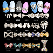 3d Alloy Rhinestone Bow Tie Nail Art Decorations,100pcs Crystal DIY Glitter Accessories Jewelry,Nail Supplies***3653-3672