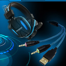 Professional Gaming Headphone with Mic 3.5mm Over Ear Stereo Adjustable Gaming Headset with LED Light for Desktop Notebook