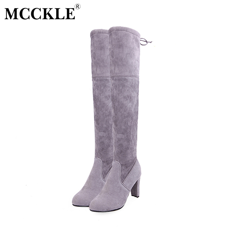 MCCKLE Female Winter Thigh High Boots Women Faux Suede Leather High Heels Over The Knee Botas Mujer Plus Size Shoes Pumps 34-43 цены онлайн