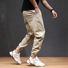 Japanese Style Fashion Joggers Pants Men Khaki Loose Fit Multi Pockets Cargo Pants Summer Ankle Length Slack Bottom Harem Pants цена в Москве и Питере