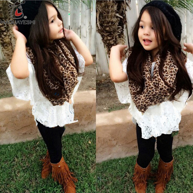 New Fashion Girls Clothes White Floral Lace Outwear Vest Girls Pants and Leopard Scarf 4 pcs Baby Girls Clothing Sets
