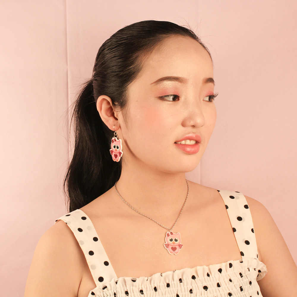 2019 каваи милые Сова серьги в форме капли для маленьких девочек мультфильм плоское украшение из смолы Детские ювелирные серьги/ожерелье KS152