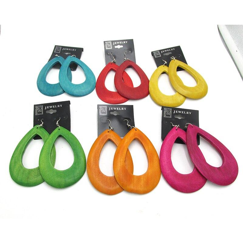 10 Paare/los Neueste 6 Cm Tropfen Holz Ohrringe Können Gemischt 6 Farben BüGeln Nicht