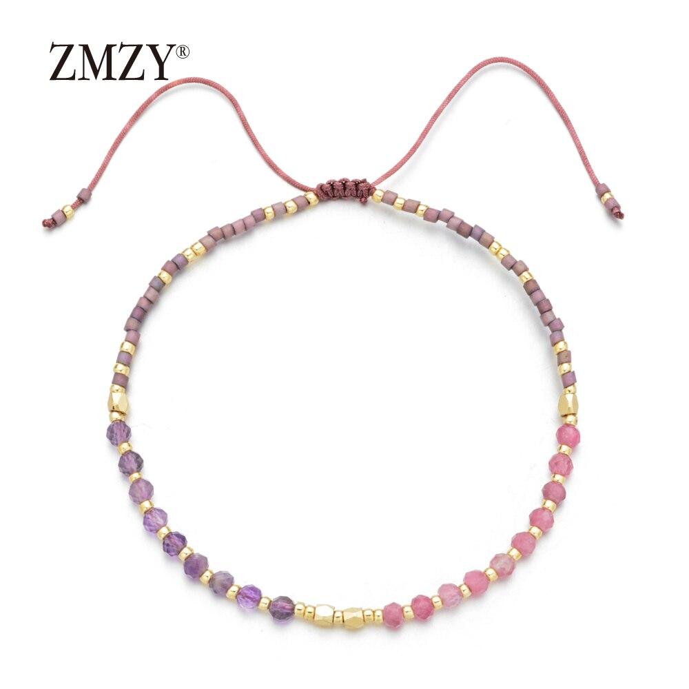 ZMZY Fashion New Natural Stone Beaded Bracelets for Women Adjustable Multi Color Miyuki Beads Jewelry Rope Chain Bracelet Gift