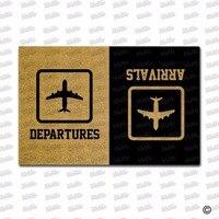 Funny Arrival Departure Welcome Mat Entrance Novelty Doormats home door Floor mat Geek Airport Sign Non Slip Rubber Mats Rug