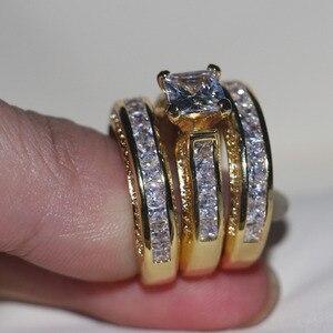 Image 3 - Vecalon Fashion 3 in 1 Women ring Princess cut 7mm AAAAA Zircon cz Yellow Gold 925 Sterling Silver wedding Band ring Set