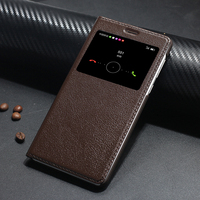 Vintage Retro Luxury Genuine Classic Leather Flip Cover Case For Huawei Honor 6X With View Window