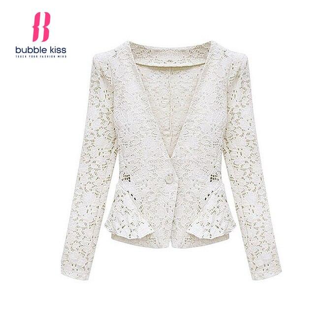 Hollow Out Women Blazer Jacket Spring Autumn Single Button Elegant Casual Long Sleeve Coat Ladies Fashion Bubblekiss
