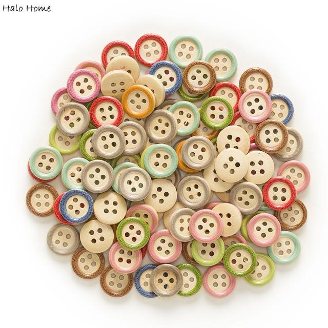 """50 יחידות רב צבע אופציונלי 4 חור צבע עגול מעורב כפתורי עץ בגדי דקור תפירת רעיונות בית 15 מ""""מ"""
