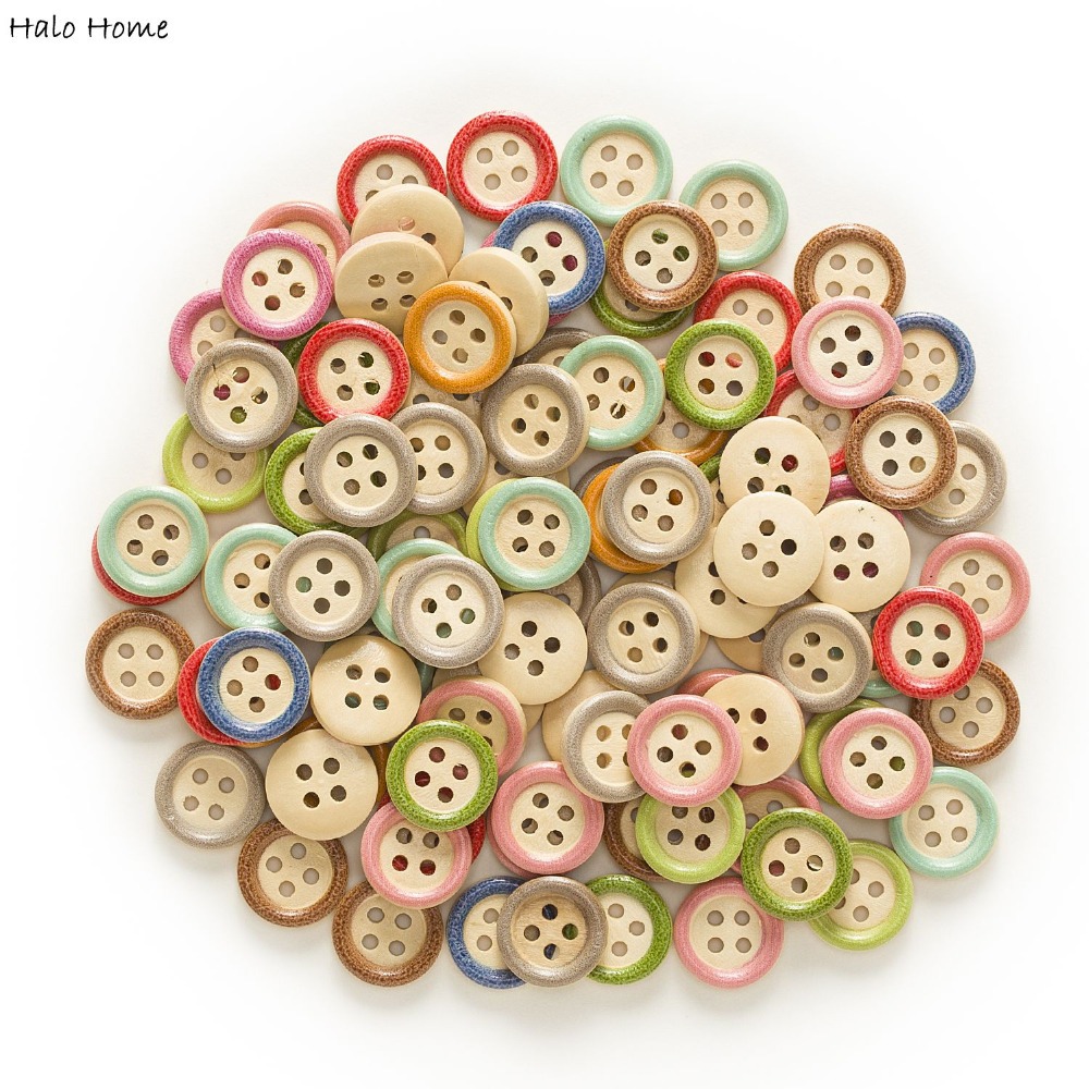 PEPPERLONELY Brand 100PC Natural 4 Hole Scrapbooking Sewing Wood Buttons 13mm 1//2 Inch