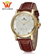 OUYAWEI New Simple Gold Dial Men Watches Fashion Male Mechanical Wristwatches Red Sport Strap Luxury Business Quartz  Clock 2019