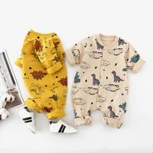 Autumn Long Sleeve Newborn Romper Cartoon Dinosaur Baby Boys Girls Playsuits Long Sleeve Infant Kids One Piece Clothes 0-24Month