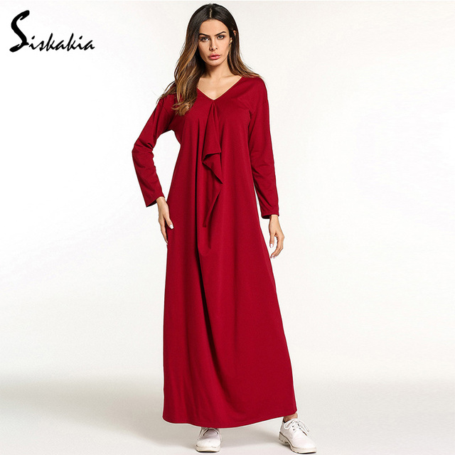 301a704b14d Siskakia Womens maxi dress Solid ruffles draped design fashion casual muslim  home wear dresses V neck