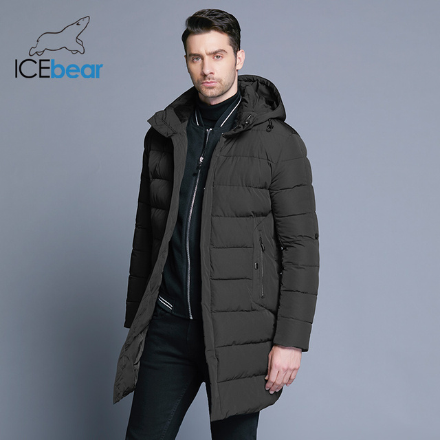 ICEbear 2018 зимняя куртка Для мужчин шляпа съемный теплое пальто повседневные парки с хлопковой подкладкой зимняя куртка Для мужчин Костюмы MWD18821D