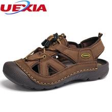 Sandalias de los hombres Zapatos de Cuero Clásicos Zapatos Casuales antideslizante Transpirable Marca Cerca Del Dedo Del Pie de Playa Al Aire Libre Proteger Zapatillas Sandalias