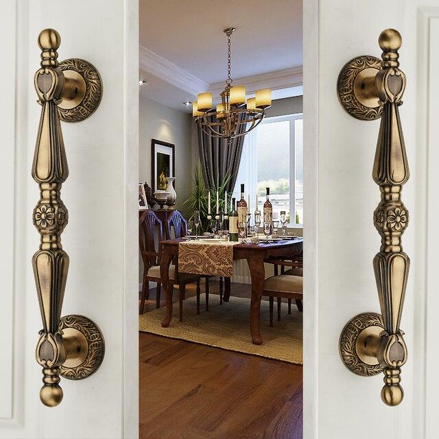 European Antique Copper Solid Wooden Door Sliding Door Wardrobe Door Handle Cabinet Drawer Handle(C.C:225mm,L:320mm)