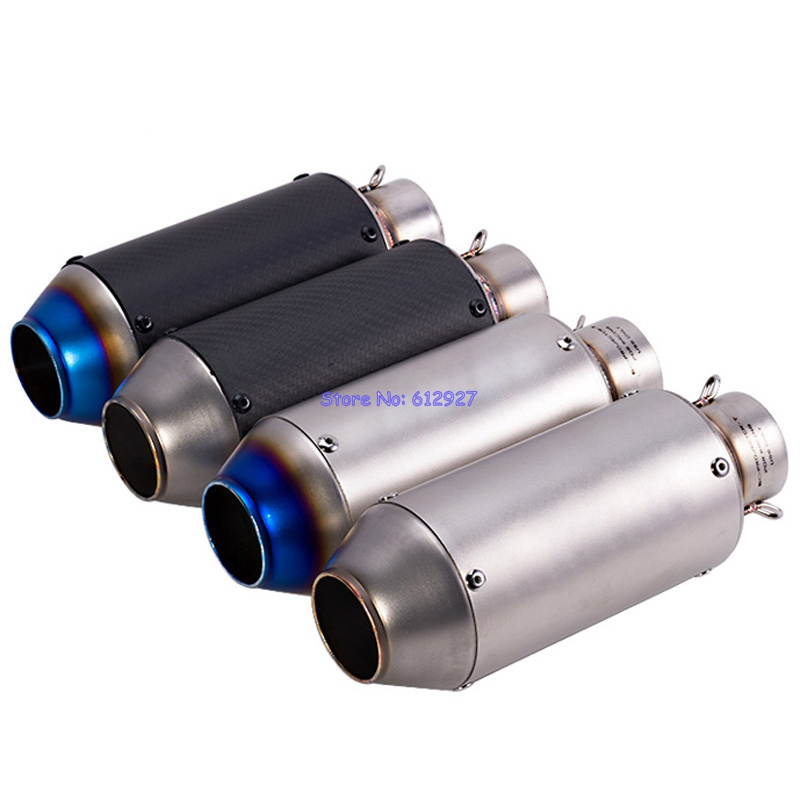 JOHOTAKI: Inlet 51mm Universal Motorcycle Exhaust Pipe Muffler Escape Laser Logo with DB Killer Carbon Fiber and Stainless Steel