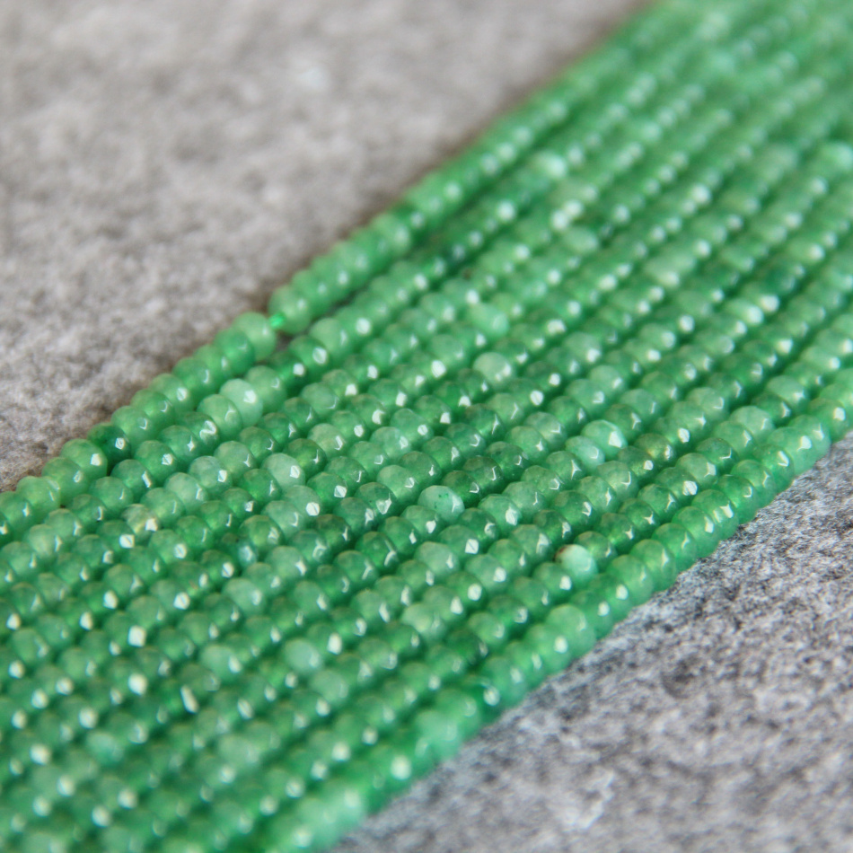 <font><b>2x4mm</b></font> Faceted New Green chalcedony beads stones Loose DIY beads 15