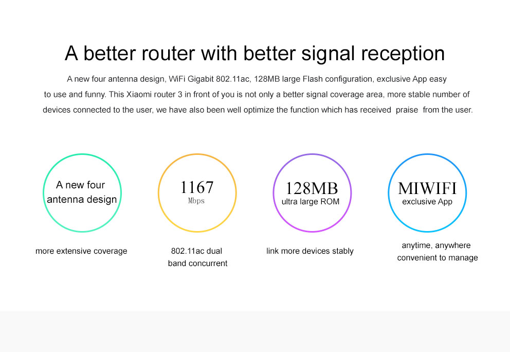 Original Xiaomi Mi WIFI Router 3 CPU MT7620A 2.4G5G WiFi Roteador Dual band 4 antenna APP Control 1167Mbps ok (2)