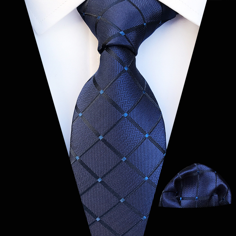 Mens Tie Skinny Blue Palid Polyester Silk Classic Jacquard Woven Extra Long Tie Hanky Sets For Men Formal Wedding Party
