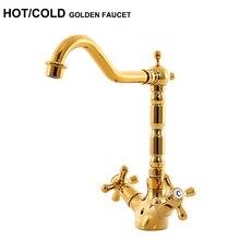 Качество латунь горячая холодная водопроводной воды двойной ручкой Золотой смеситель для кухни золотой кран для ванной