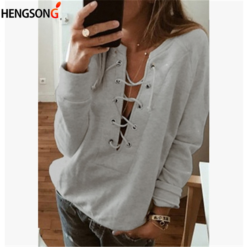 Women  Autumn Lace Up T-Shirt  Long Sleeve Bandage TShirt Casual Hollow Out Deep V Neck Work Sexy Club Tops Tee Shirts