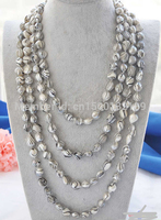 j00434 100 14mm gray striae baroque freshwater pearl necklace