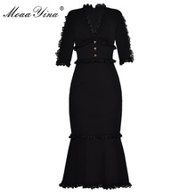 MoaaYina Fashion Designer Runway Dress Summer Women V neck Half sleeve Lace Button Slim Packet hip Noble Elegant Fishtail Dress