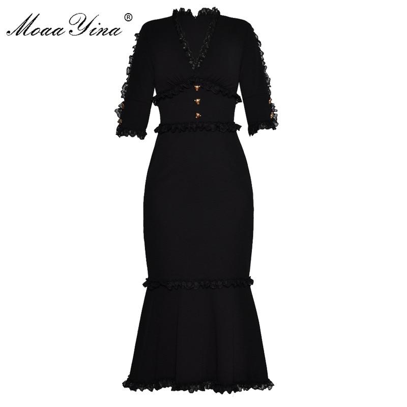 MoaaYina Fashion Designer Runway Dress Zomer Vrouwen V hals Half mouwen Kant Knop Slanke Packet hip Nobele Elegante Fishtail Jurk-in Jurken van Dames Kleding op  Groep 1