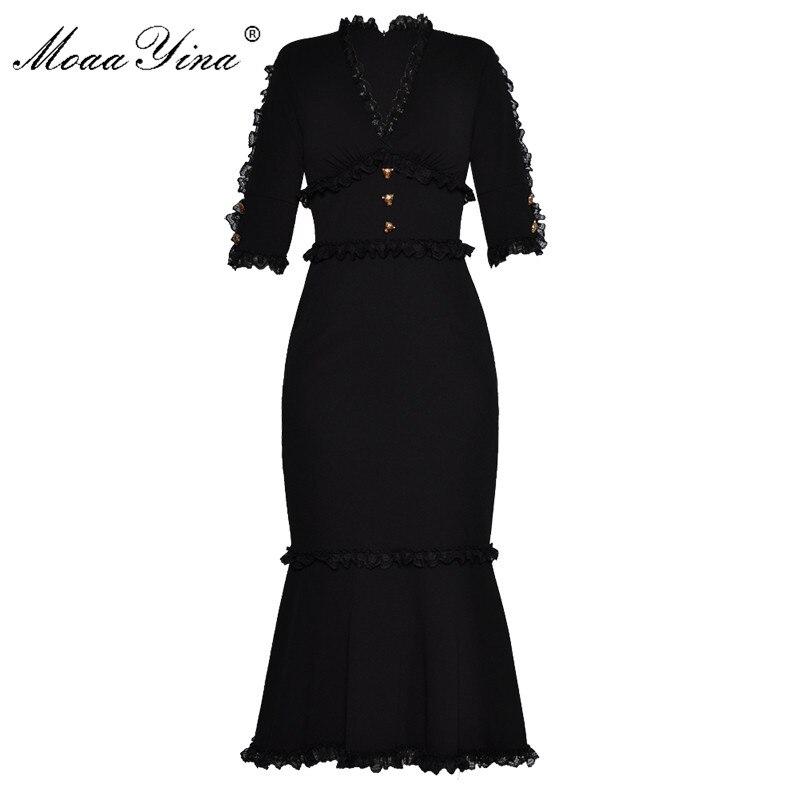 MoaaYina Mode Designer Runway Kleid Sommer Frauen V ausschnitt Halbe hülse Spitze Taste Schlank Paket hüfte Edle Elegante Fischschwanz Kleid-in Kleider aus Damenbekleidung bei  Gruppe 1