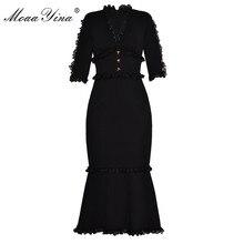 Moaayina moda designer runway vestido de verão feminino com decote em v meia manga botão de renda fino pacote hip nobre elegante fishtail vestido