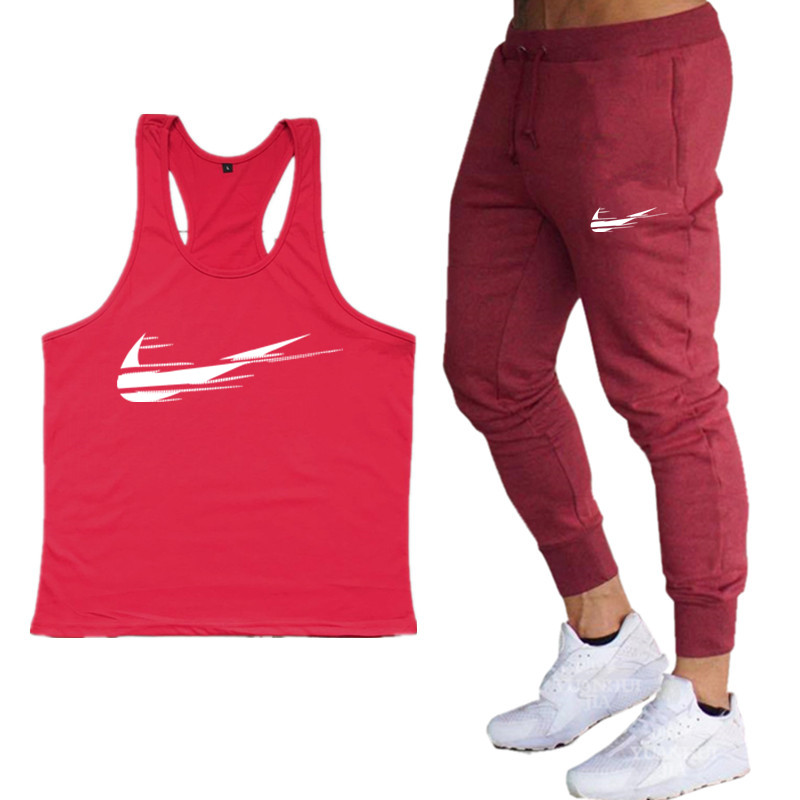 2019 Summer Bodybuilding Men's   Tank     Top   Trousers Suit Brand Clothing Fitness Singlet Sleeveless Cotton Workout Stringer   Tank     Top