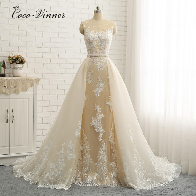 Wedding Dresses With Detachable Tail: Quality Arabic Wedding Dress 2019 Detachable Tail
