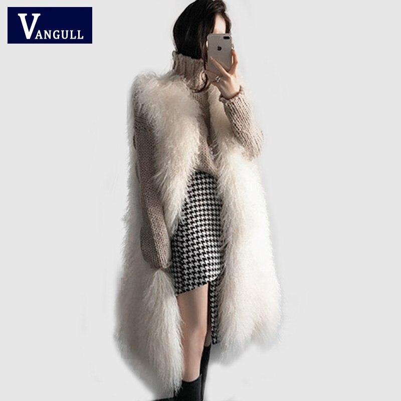 Women Fluffy Long Fur Vest Waistcoat Elegant Winter Sleeveless Faux Fur Outerwear Female Coats Soft Hairy Overcoat VANGULL 2018