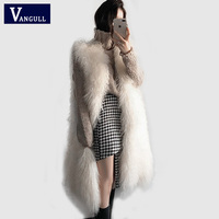 Women Fluffy Long Fur Vest Waistcoat Elegant Winter Sleeveless Faux Fur Outerwear Female Coats Soft Hairy Overcoat VANGULL 2018