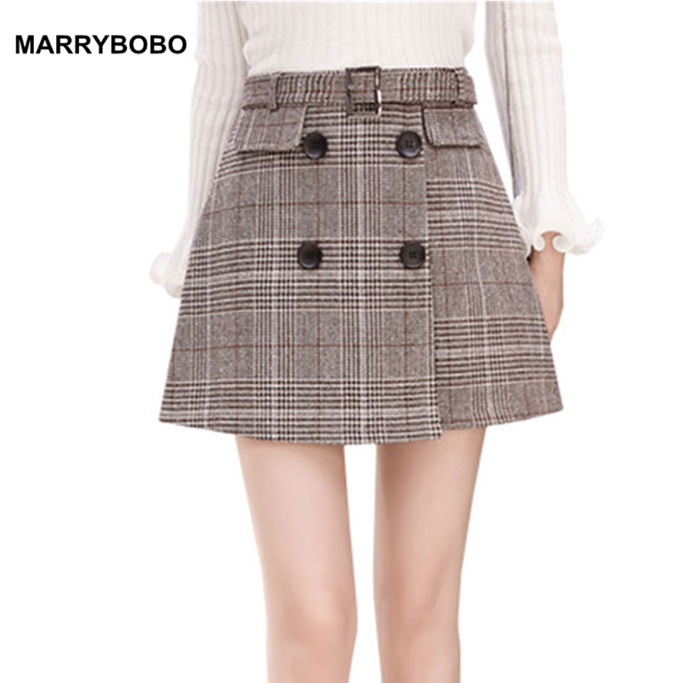 0e89f21df4 New Women Plaid Skirt 2019 Autumn Elegant Button Mini Skirts Female Vintage  High Waist Skirt Harajuku Lady A-Line Winter Skirts
