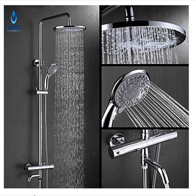 ULGKSD Chrome 8Rainfall Shower Head Shower Set Faucet Tub Filter Hot and Cold WaterMixer Taps W/ Hand shower