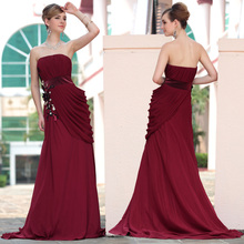 free shipping 2014 maxi dresses longWine red tube top plus size banquet annual meeting of company train lady hood evening dress