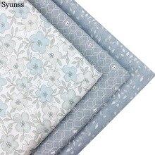 Серый цветочный принт Diy саржевая хлопковая ткань для шитья, лоскутного шитья, домашнего декора, подушек, подушек и стеганых изделий детская одежда
