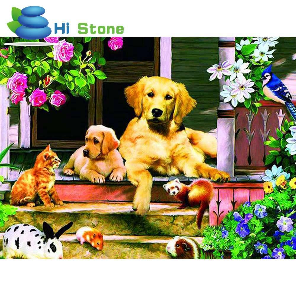 Новый 5D DIY Вышивка с кристаллами с рисунком собачки и котика Животные Алмазная мозаика животного Вышивка Полный Круглый Стразы подарок