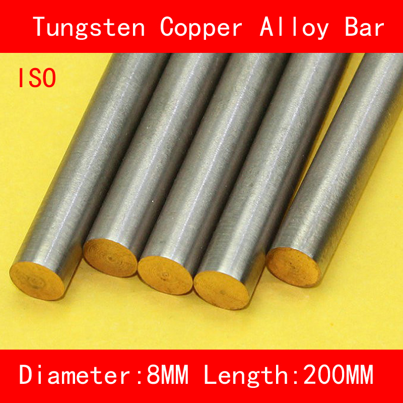 Diameter 8mm Length 200mm Tungsten Copper Alloy Bar W80Cu20 W80 Tungsten Bar Spot ISO Certificate 4 100 100 tungsten copper alloy sheet w80cu20 w80 plate spot welding electrode packaging material iso certificate free shipping