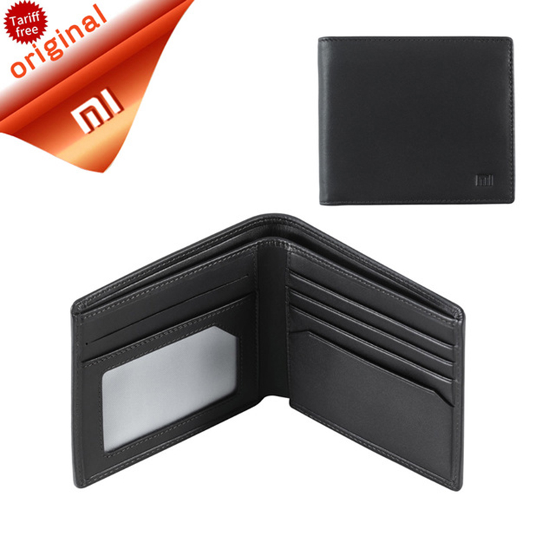 Original Smart Xiaomi Wallet Genuine Leather Black Purse Man Stylish Business Cowhide Double Fold Standard Wallets