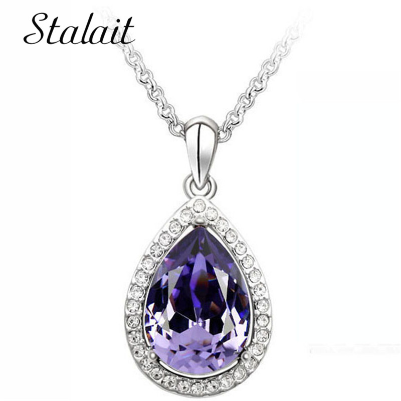 Luxury Simple Big Water Drop Pendant Necklace Silver Color Purple Crystal Necklace Bohemia Jewelry For Girlfriend Drop Shopping in Pendant Necklaces from Jewelry Accessories