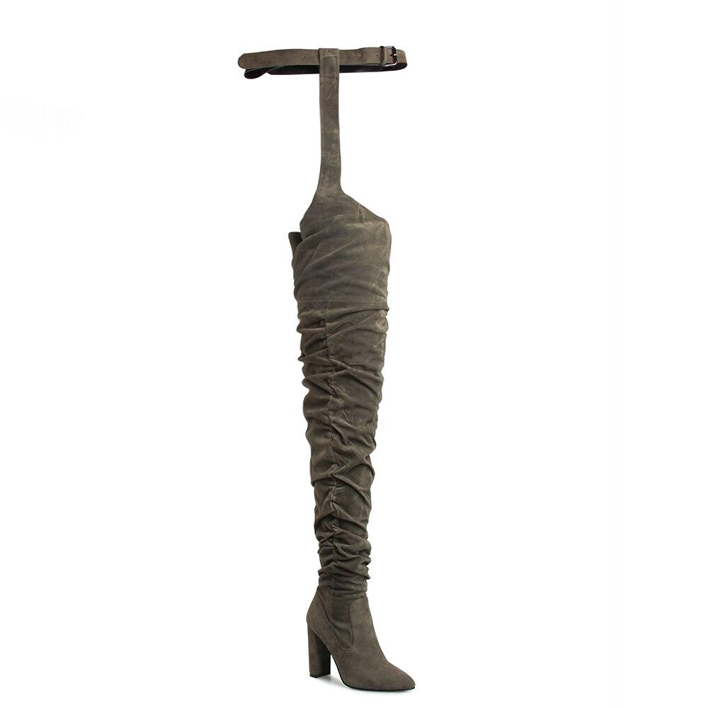 Haute Armée Mode Talons Plissé 2019 En Pointu Bout Chunky Daim Green Personnalité Zipper army Vert Bottes Cuisse Chaussures Femmes Black De Hiver qUrB4x7qZw