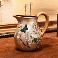 Retro milk pot shape flower vase ornaments decorative vintage vase for modern home decors